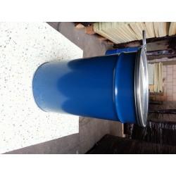 60 liter Metalen vat blauw met deksel