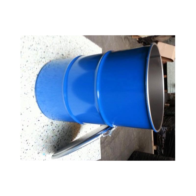 60 liter Metalen vat UNS blauw met deksel - Metalen ijzeren stalen ...