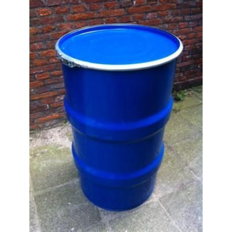 120 liter Metalen vat model 1 blauw met deksel