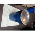 60 liter Metalen vat blauw met deksel in mekaar stapelbaar