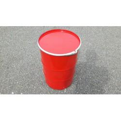60 liter Metalen vat rood met deksel